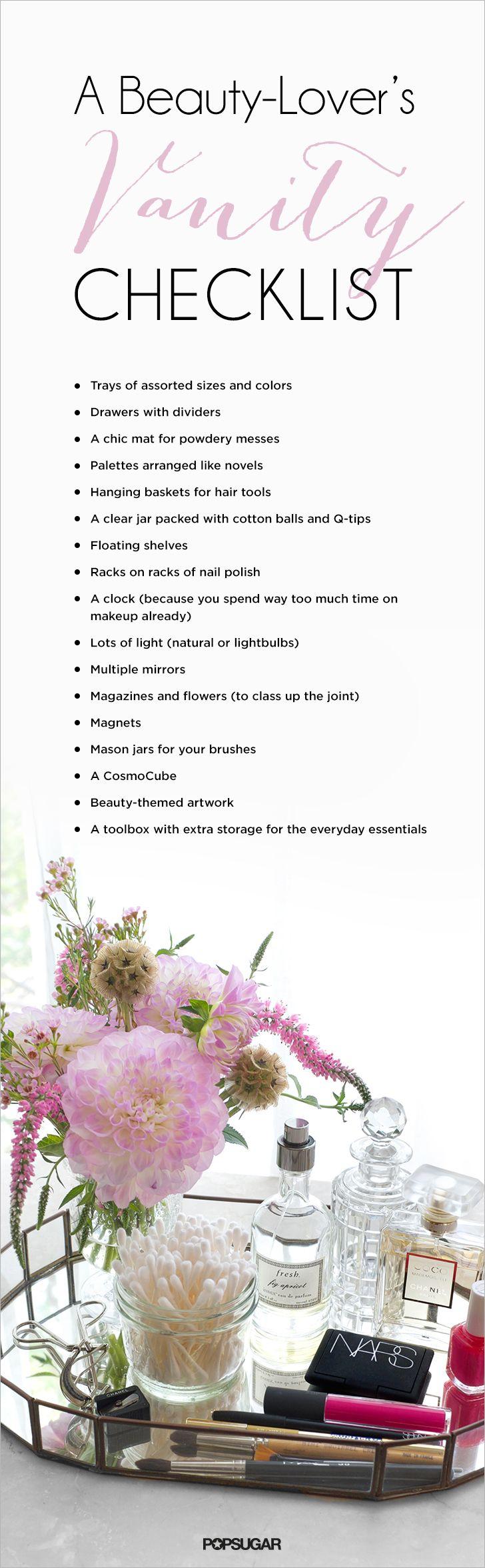 vanity checklist